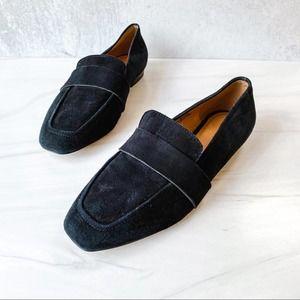 HALOGEN Black Suede Lucy Flat Slip On Loafer 7